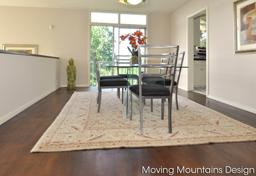 San Marino dining room home staging in Mid Century Modern house for sale