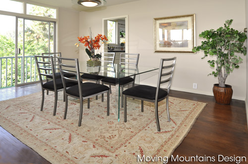 Dining room of San Marino home staged by Moving Mountains Design