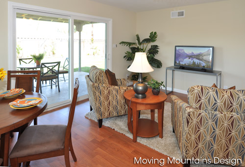 staged Family great room and patio in Torrance home for sale