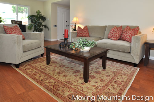 staged living room in Torrance home for sale