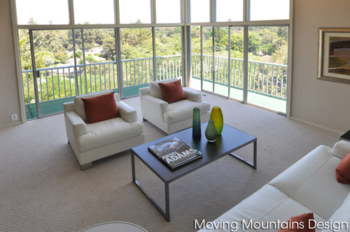 Mid-Century Modern hillside view home living room