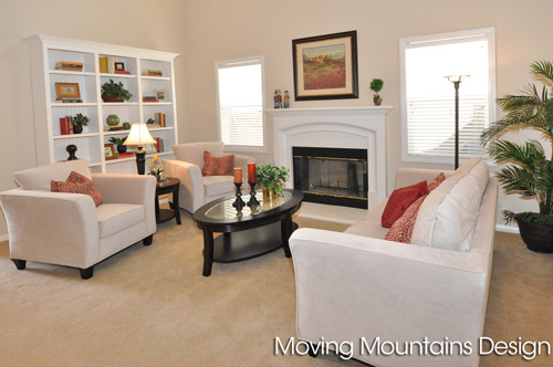 Rosemead Home Staging Living Room with white couches