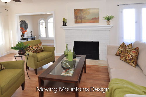 Altadena House Staging For A Real Estate Investor - Living Room with fireplace
