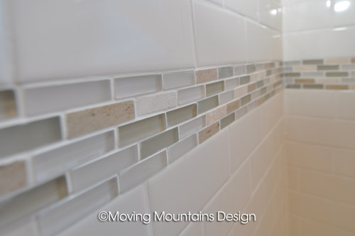 Bathroom tile detail in real estate photography