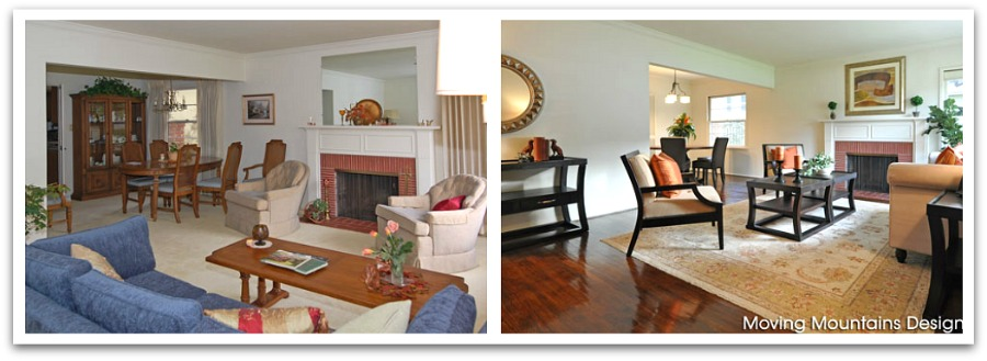 South Pasadena Livingroom Before And After Home Staging Moving Mountains Design Los Angeles