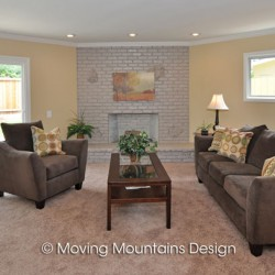 Home staging family room in West Covina home for sale