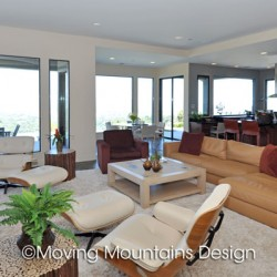 Family room and kitchen in Pasadena contemporary house staging