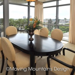 Dining room Luxury condo staging in LA with view