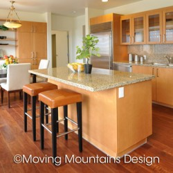 Los Angeles luxury condo staging of the kitchen with leather barstools