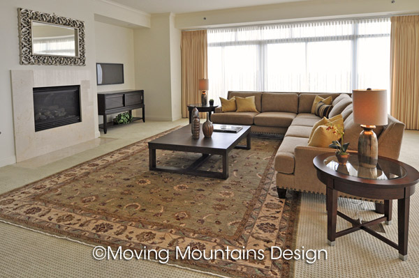 Living Room Luxury Condo Staging With Persian Rugs
