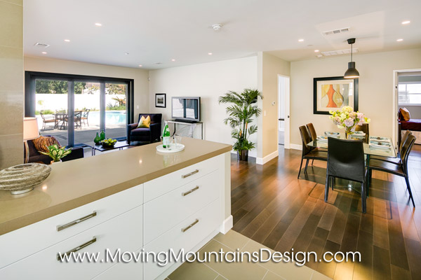 San Marino Contemporary Home Staging Kitchen and Family Room.