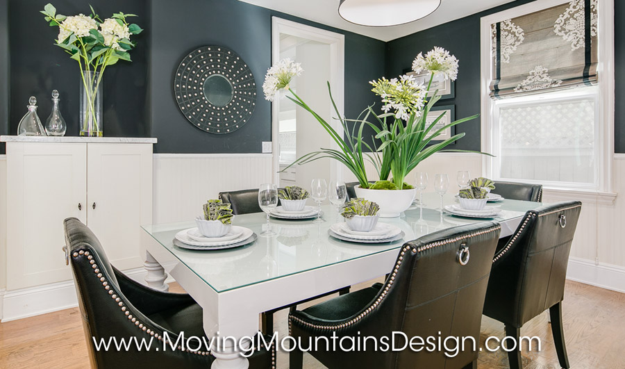 Black and white dining room studio city home staging