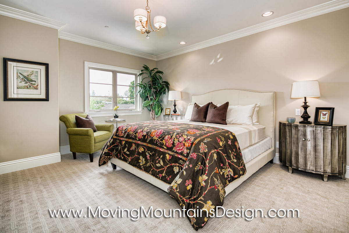 Arcadia home staging by moving mountains design Master bedroom home staging