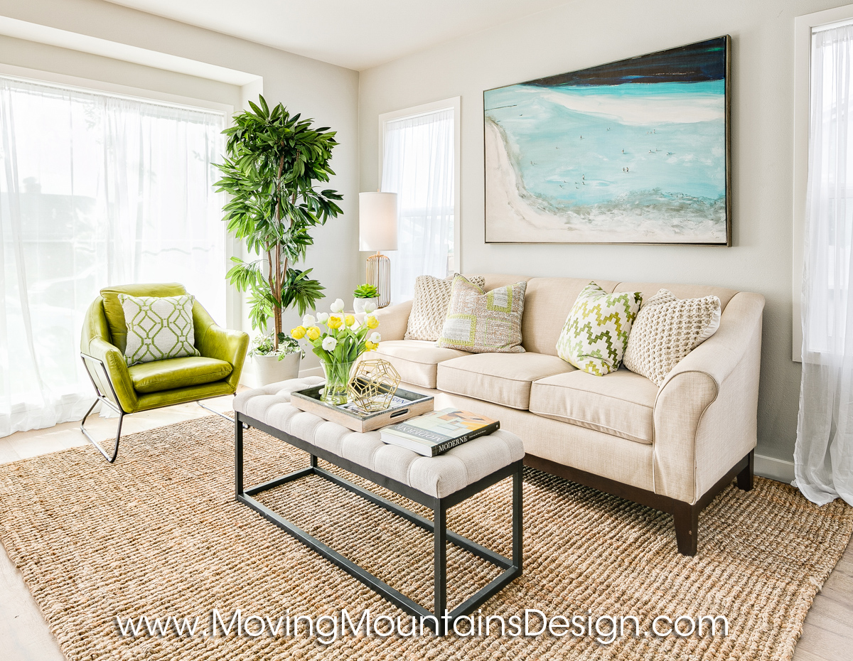 Living room home staging by Moving Mountains Design