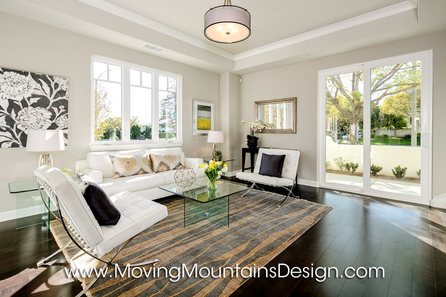 Staging condos townhomes moving mountains design los Model home family room pictures