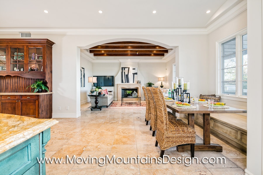 Valencia luxury home staging the kitchen and family room