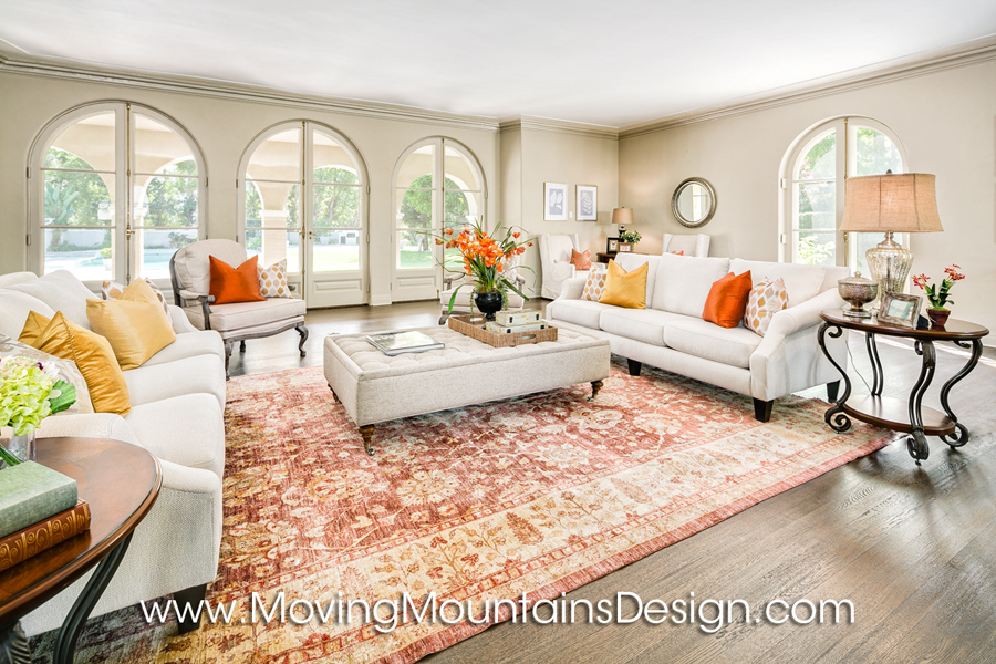 Luxury home staging living room with Persian rug