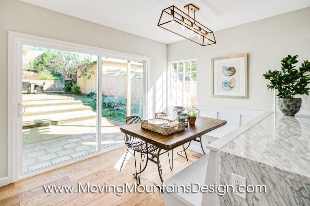 Los Angeles breakfast banquette home staging