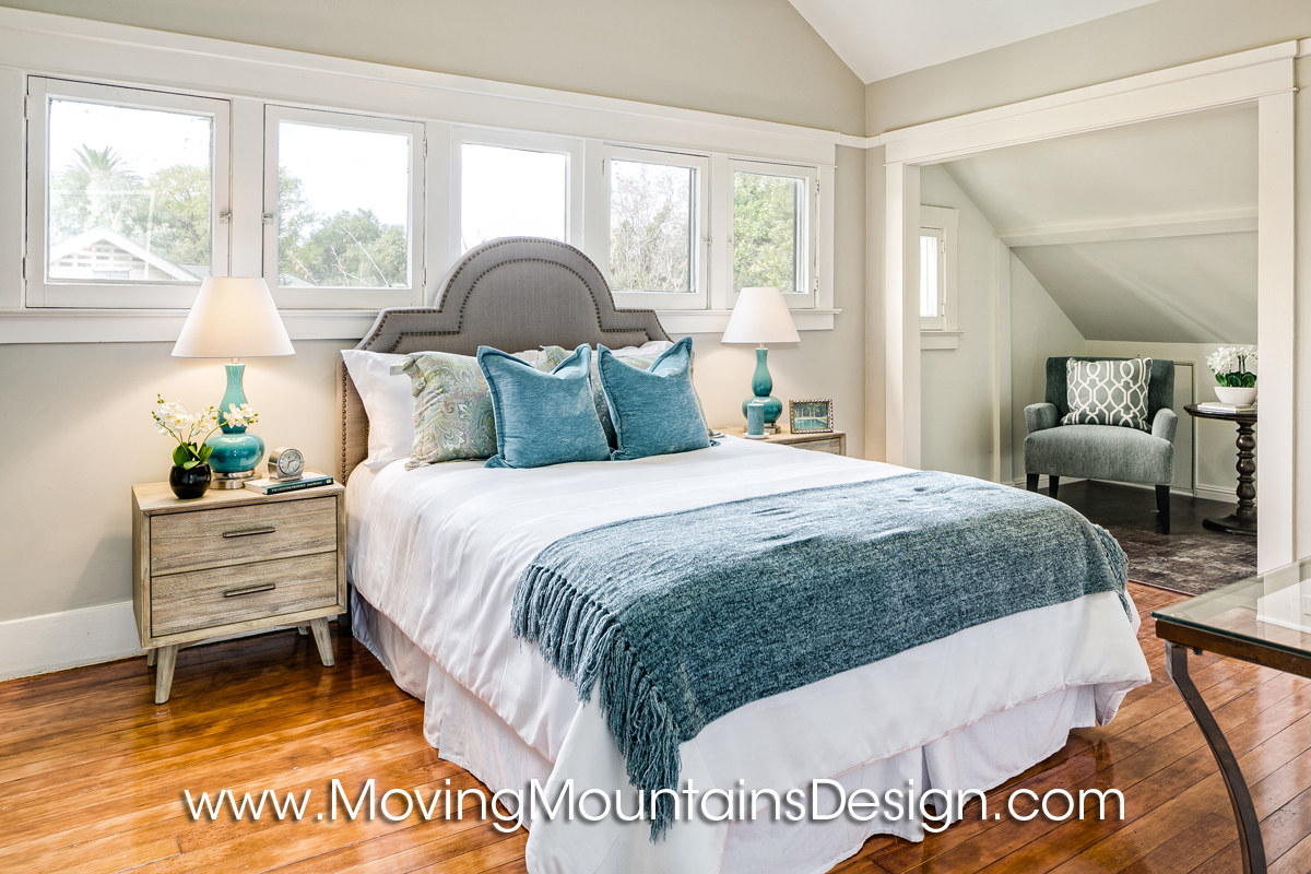 staging a bedroom.  Investor Staging Master Bedroom blue and gray Home Blog Moving Mountains Design Los Angeles Real