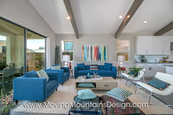 Model Home Open Concept Colorful Living Room