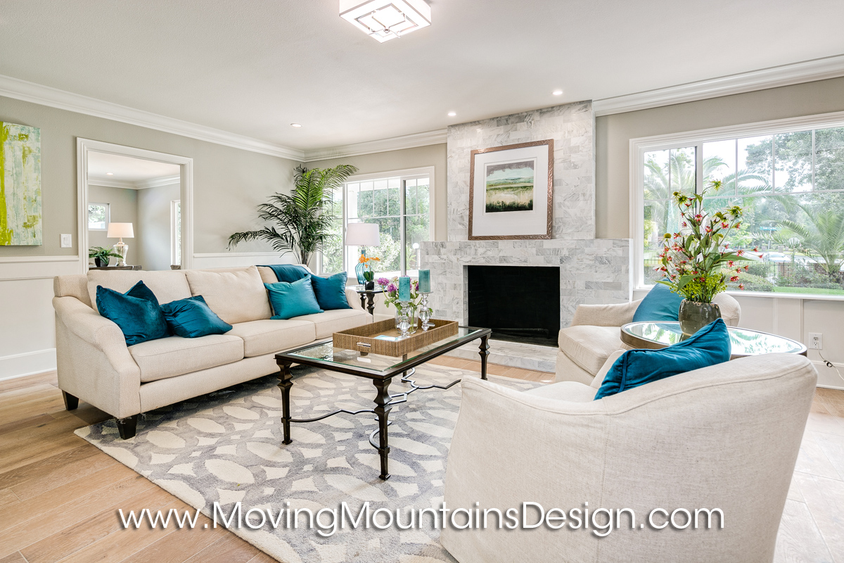 cream and teal arcadia living room - Home Staged Designs