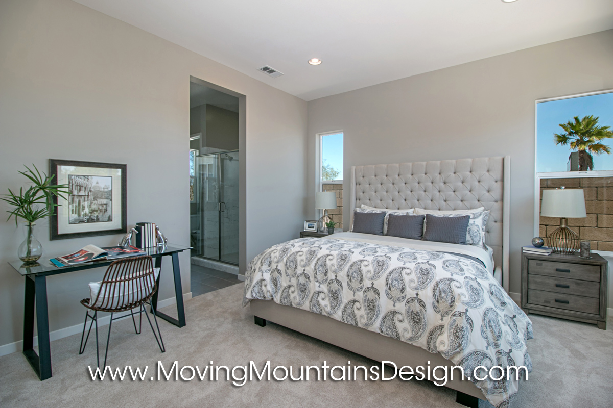 staging a bedroom. Gray and white Master BedroomModel Home Staging Bedroom Model  Moving Mountains Design Los