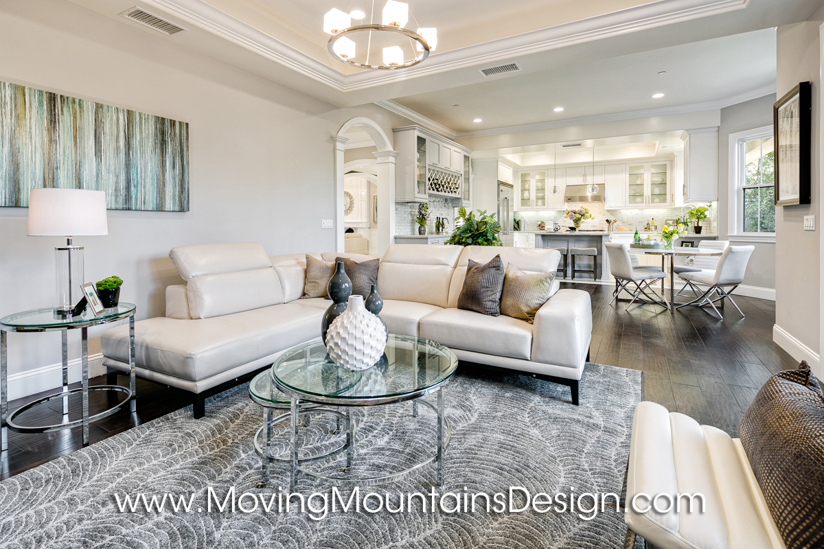 Family room in Temple City home staging with white leather sectional