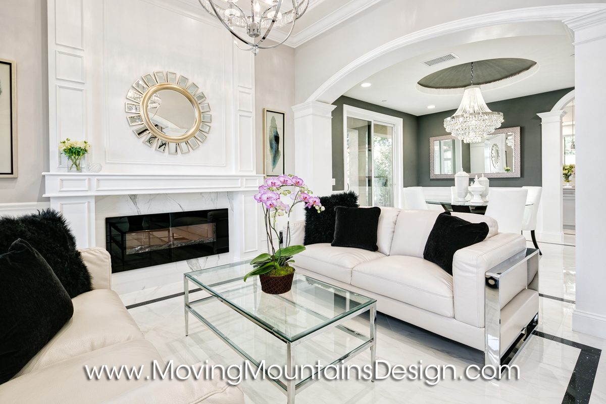 Living Room Temple City Home Staging white leather