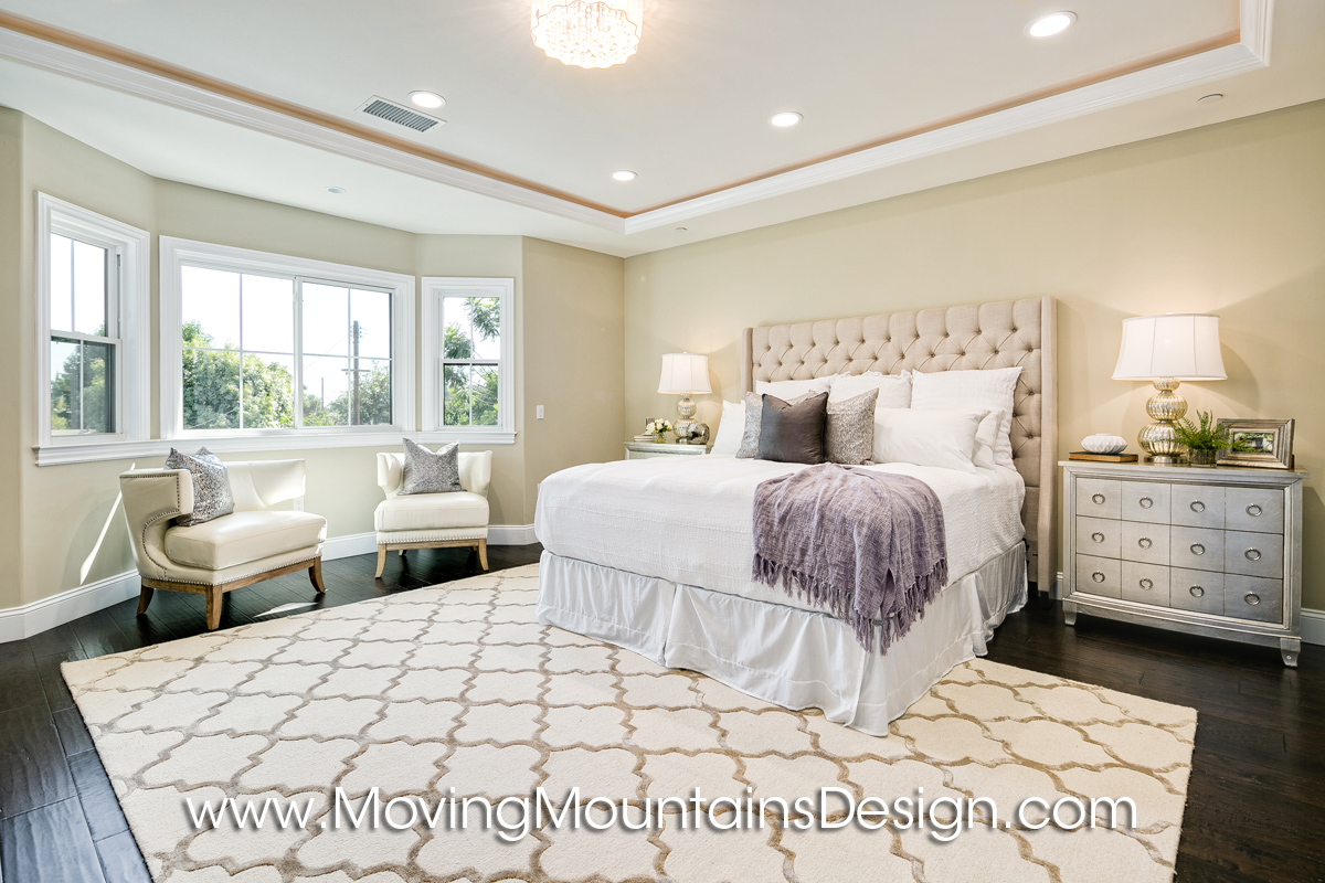 Home staging blog moving mountains design los angeles real estate staging Master bedroom home staging