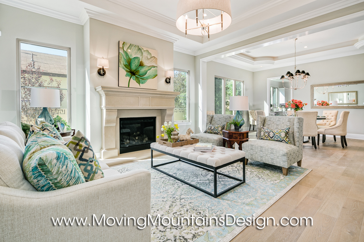 Beautiful Monrovia New Construction Living Room Staging