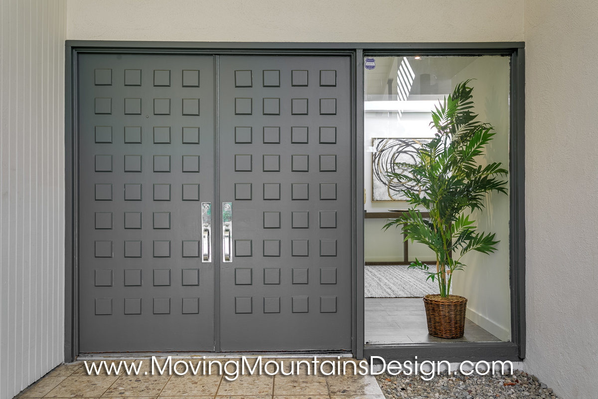 Front door of Pasadena Mid-Century Modern Staging