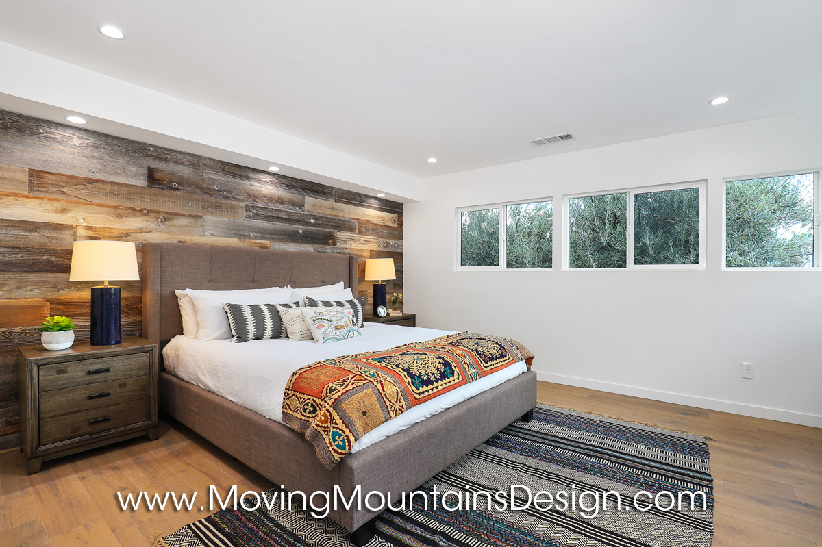 Hollywood hills master bedroom home staging