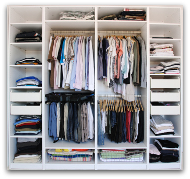 Organized closet staged with Feng Shui