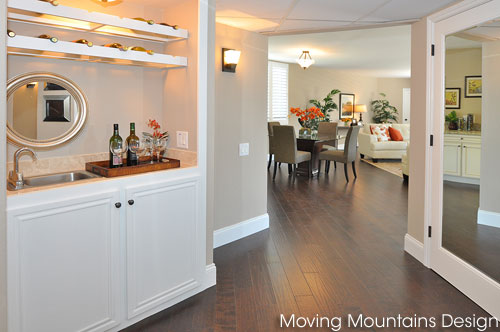 Belair Los Angeles home staging condo entry looking into living room