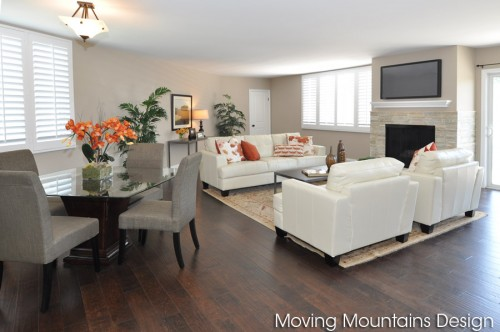 Bel Air Los Angeles house staging dining and living room