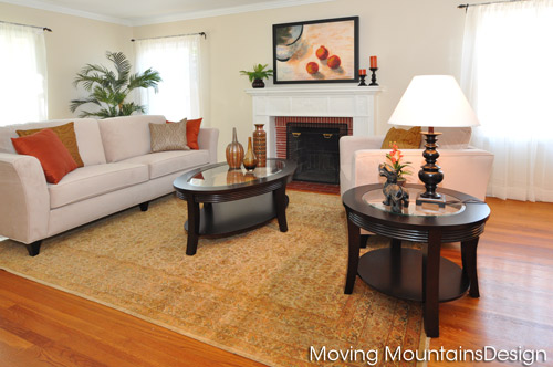 Pasadena home for sale living room home staging by best Pasadena home stagers