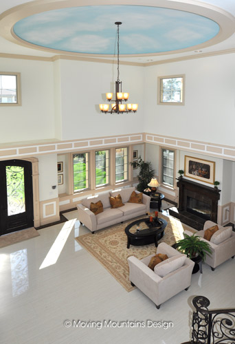 Arcadia home staging living room with tall ceilings