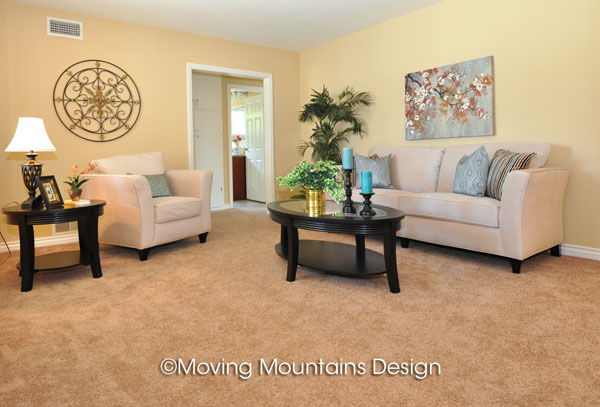 Living room house staging in West Covina