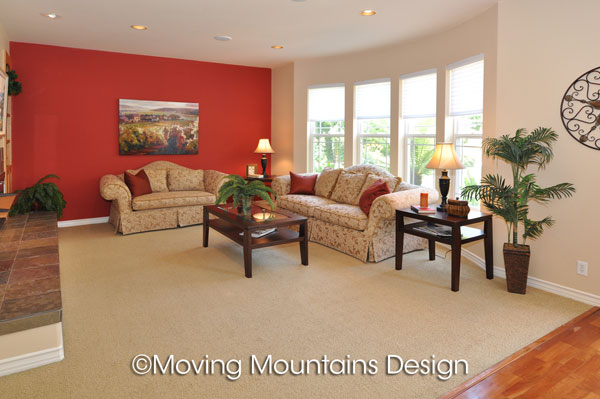 Altadena family room with red wall after home staging