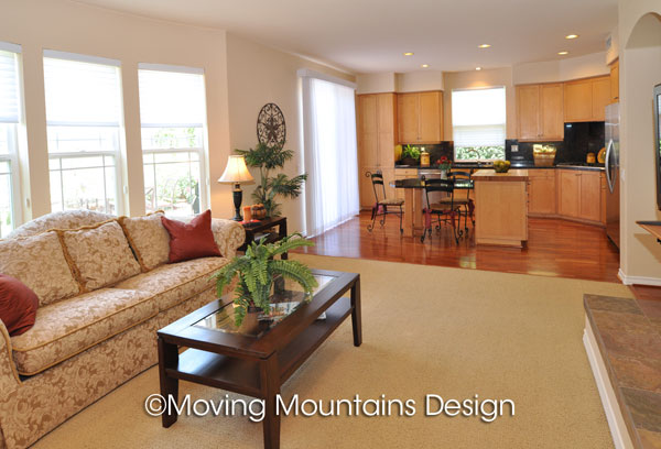 Altadena home staging kitchen and family room