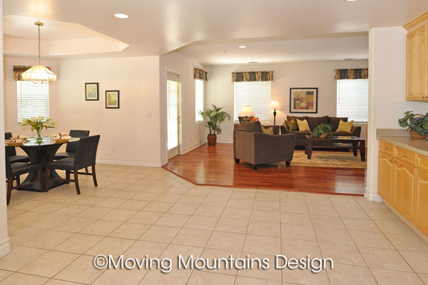 Arcadia real estate family room and kitchen house staging