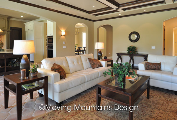 Arcadia family room staged by Arcadia home stagers with leather sofa