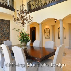 Estate dining room in new construction home staging in Arcadia