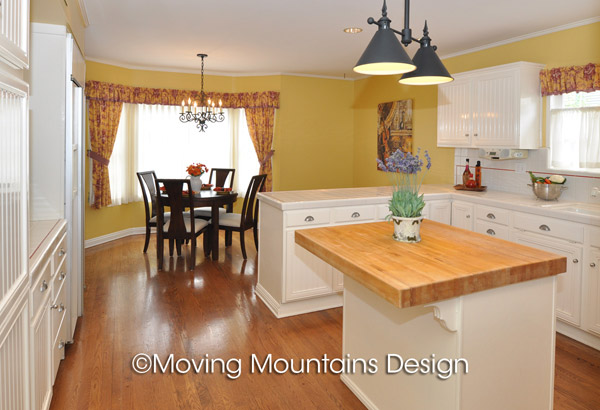 Yellow Arcadia kitchen real estate staging by Arcadia home stagers