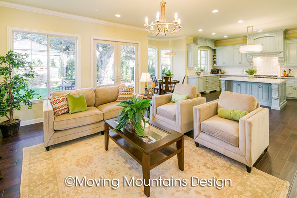 Arcadia New Home Staging Family Room by Moving Mountains Design