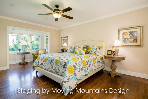 Master bedroom home staging in Pasadena CA
