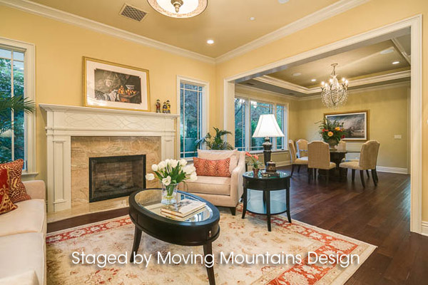 Arcadia New Construction Home Staging Living Room