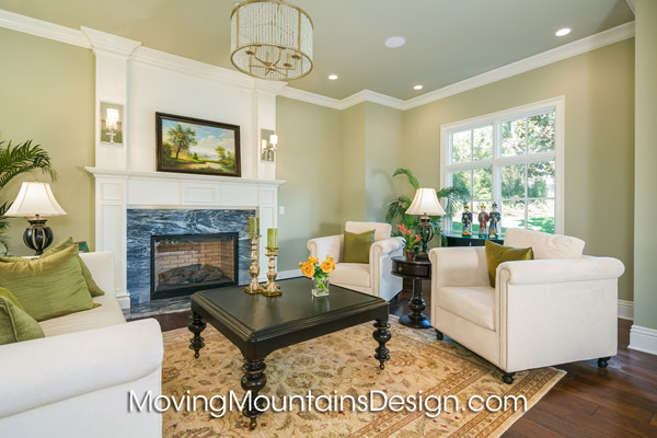Home staging Arcadia luxury estate staged living room