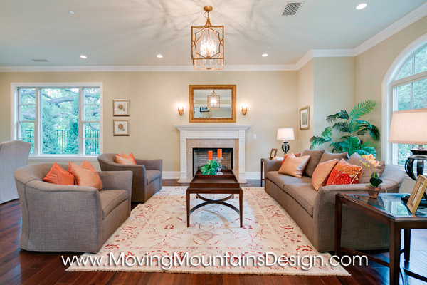 Living Room Luxury Home Staging by Moving Mountains Design