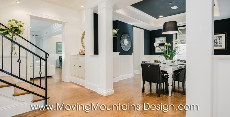 Black walls with white trim home staging Studio City